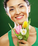 Happy asian girl with tulips stock photos