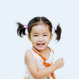 Happy  asian girls on the white background Stock Images