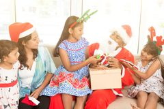 Indian family and Christmas celebration Stock Photos
