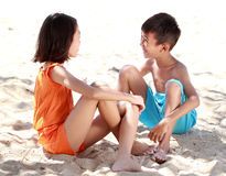Happy asian kids having fun in beautiful sunny day Royalty Free Stock Photos