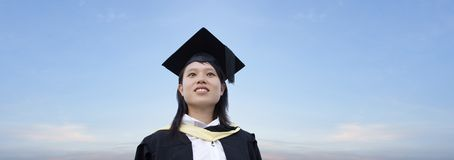 Happy asian lady graduate Stock Image