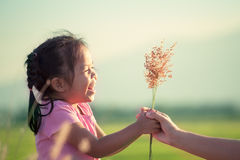 Happy asian little girl giving grass flower to her mother. With love in vintage color tone Royalty Free Stock Image