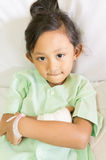 Happy and Brave Asian Little Girl Hospital Patient Royalty Free Stock Photos