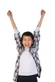 Happy Asian Little Girl Showing Winning Gesture Stock Images