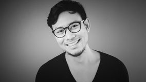 Happy Asian man in Black and White. Classic Happy Asian man in black and white royalty free stock image