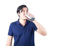 Happy Asian man with bottle of water isolated on the white backg Stock Photos