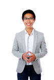 Happy asian man standing royalty free stock photography