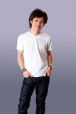 Happy Asian man in white shirt Stock Photo