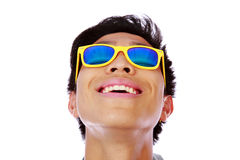 Happy asian man in yellow sunglasses Royalty Free Stock Photos