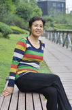 Happy asian mature woman Stock Photo