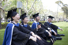 Happy asian MBA graduate looking for future Royalty Free Stock Photo