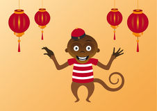 Happy Asian monkey. Asian orange background with a monkey and Chinese lanterns. Vector illustration of a happy Asian monkey. Asian still life. Background with a Stock Photography