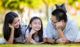Happy asian mother, father and daughter Stock Images