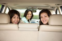 Asian mother teenage daughers in a car. Stock Photo