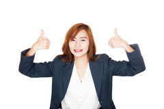 Happy Asian office girl show thumbs up with both hands Royalty Free Stock Image