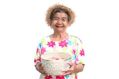 Happy Asian older woman holding bowl with flower on white background stock image