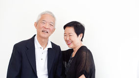 Happy Asian senior couple, family business partner portrait together. Happy Asian senior couple, family business owner partner portrait together stock image