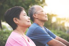 Asian senior couple smiling. Happy Asian senior couple smiling and breathing fresh air while exercising at park outdoor stock image
