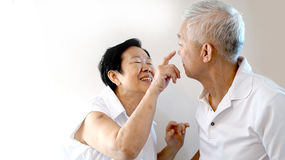 Happy Asian senior couple white background love and hug Stock Image