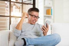Happy asian senior man Stock Photos