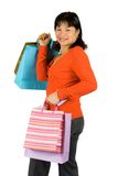Happy Asian shopper Royalty Free Stock Image