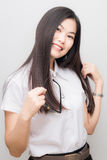 Happy asian student woman in white suit smiling Stock Photos