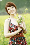 Happy Asian summer girl stock images