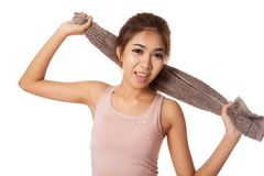 Happy Asian thin girl work out hold towel Royalty Free Stock Photos