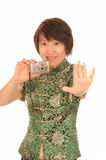 Happy Asian woman with camera Stock Images