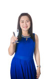 Happy Asian woman with glass of water isolated on the white back Stock Photography