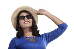 Happy asian woman with glasses and hat going vacation Stock Photography