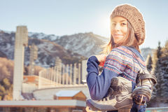 Happy asian woman going to ice skating outdoor Royalty Free Stock Photography