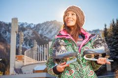 Happy asian woman going to ice skating outdoor Stock Photography