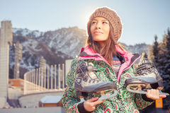 Happy asian woman going to ice skating outdoor Royalty Free Stock Photo