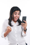 Happy Asian Woman With Her Smart Phone Stock Images
