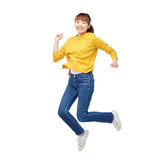 Happy asian woman jumping over white royalty free stock images