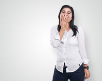 Happy Asian Woman Over White Stock Photos