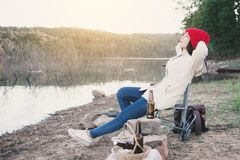 Happy Asian woman relaxing in nature winter season Stock Photography