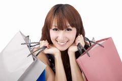 Happy asian woman with shopping bag Royalty Free Stock Photography