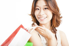 Happy asian woman with shopping bag Stock Images