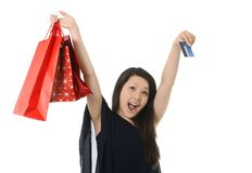 Happy asian woman with shopping bags ,credit card Royalty Free Stock Photos