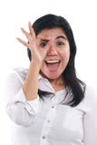 Happy Asian Woman Showing OK Gesture Stock Photo
