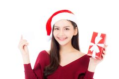 Happy asian woman with smile holding gift box and credit card Royalty Free Stock Images