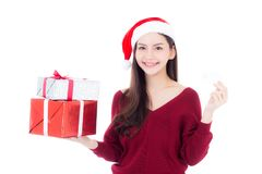 Happy asian woman with smile holding gift box of xmas and credit card Royalty Free Stock Photo