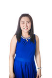 Happy Asian woman smile and stand isolated on the white background Royalty Free Stock Photo