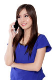 Happy Asian woman talk on phone Royalty Free Stock Photography
