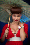 Happy Asian Woman With Parasol Stock Photo