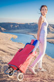 Happy asian woman with yoga mat going to fitness exercises Royalty Free Stock Image
