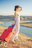 Happy asian woman with yoga mat going to fitness exercises Stock Images