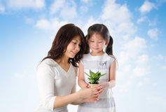 Asian family taking care plant Stock Photos